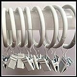 WINOMO 10 piezas de anillos de metal para cortinas, anillos para cortinas de ventana con clips para duchas, baño, dormitorio, sala de estar (blanco)