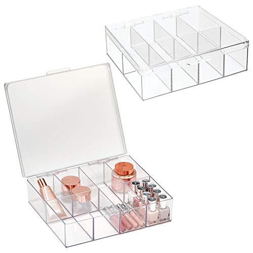 mDesign-set van 2 cosmetische opberglade – kunststof badkamerorganizer met 8 vakken en scharnierend deksel – georganiseerde make-upopslag voor nagellak, lippenstift en meer – helder