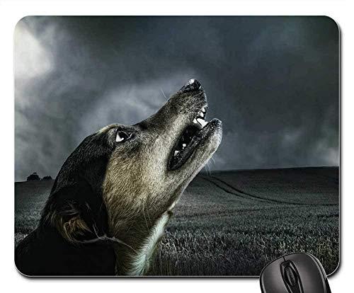 Yanteng Alfombrillas para ratón - Perro Oscuro Aullido Luz de Luna Animal de Piel para Mascotas