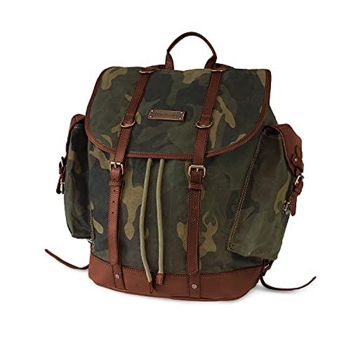 DRAKENSBERG Rucksack Kimberley-Camo-Back-Pack, gewachste Baumwolle, Leder, 24 L, Camouflage, DR00131