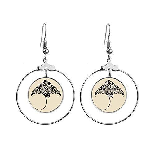 Schaats zwart en wit patroon dier oorbellen Dangle Hoop sieraden Drop Cirkel