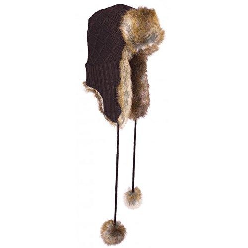 Bonnet Company Chapka Marron Tricot Fourrure Herman - Taille Unique