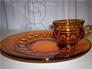 Indiana Glass Depression Kings Crown Thumbprint Luncheon Plate and Cup