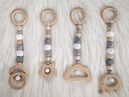 mallilu *Levi Grau* Spielbogen / Trapezspiel Anhänger, Spielzeuge Set für Baby Gym aus Holz