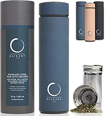 Pure Zen Tea Thermos with Infuser - Stainless Steel Insulated Tea Infuser Tumbler for Loose Leaf Tea, Iced Coffee and Fruit-Infused Water - Leakproof Tea Tumbler With Infuser - 15oz - Blue