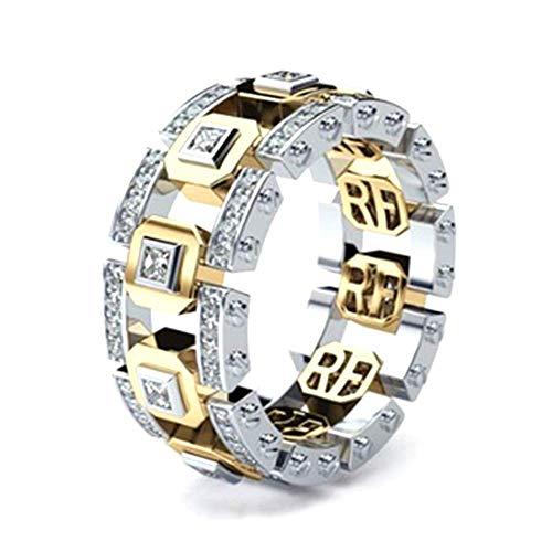 Anello da uomo con geometria da 10 mm con cristalli, anello di fidanzamento personalizzato, oro e argento bicolore (6)