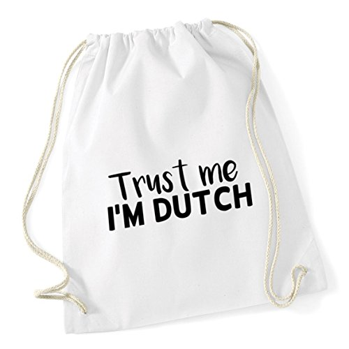 HippoWarehouse Trust me I'm Dutch Drawstring Cotton School Gym Kid Bag Sack 37cm x 46cm, 12 litres