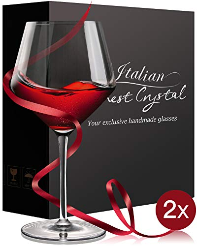 Crystal Wine Glasses Set of 2,Hand Blown Red Wine Glasses-Finest Crystal,Lighter,Ultra-thin For Best Wine Tasting,16 OZ,Perfect Gifts For Anniversary,Birthday