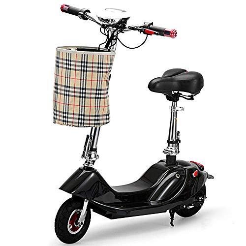 Dpliu-HW Elektrofahrräder Faltendes erwachsenes Elektroauto Mini-Elektroauto-Roller-Reise-kleines elektrisches Fahrrad-schwanzlose Modell-Batterielebensdauer (Color : Black24V, Size : 25KM)