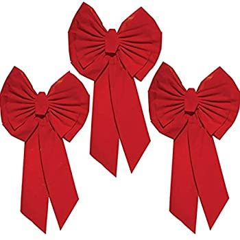 """Rocky Mountain Goods Red Christmas Bow Extra Large 35"""" by 18"""" - 11 Looped Waterproof Velvet Large Outside Bow - Bow for car Door House - Jumbo Red Bow with Attachment for Hanging  3"""