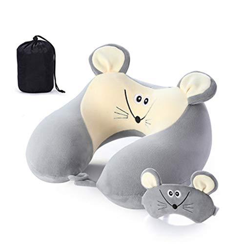 GLITZFAS Memory Foam Reisekissen Kinder Nackenkissen Niedliche Tierform Nackenhörnchen Kopfstütze Baby Reise Schlafkissen mit Augenabdeckung Aufbewahrungstasche (Maus)