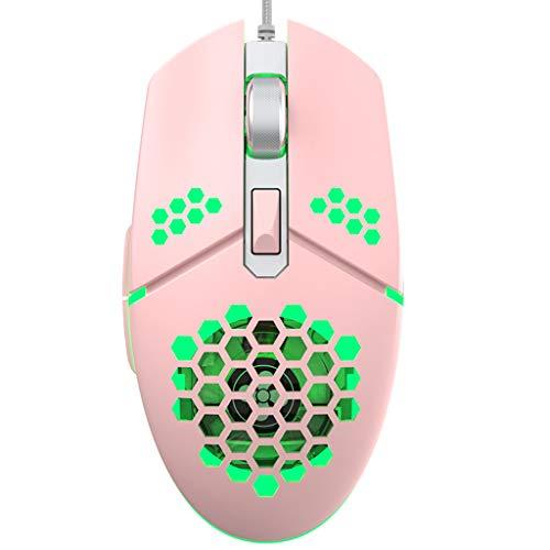 YU-HELLO _2000DPI RGB LED Gaming Cable USB Ventilador de ratón ligero de panal hueco ratones