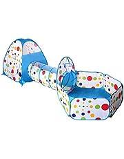 مجموعة من 3 قطع من ليوبو نفق زحف مع خيمة لعب وسلة للكرات خيمة لعب للأولاد والبنات والأطفال الصغار للاستخدام في الداخل والخارج مع حقيبة حمل (ازرق)