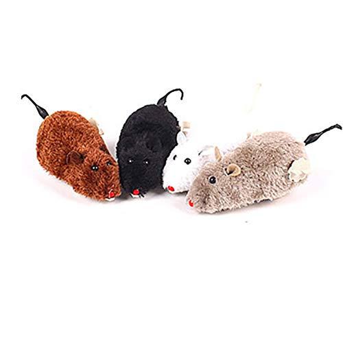 ZYCX Juguete de Cuerda del ratón con Felpa Rata mecánicas móviles Juguete Divertido Juego Animal doméstico del Perro (Color al Azar)