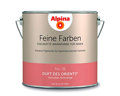 Alpina 2,5 L. Feine Farben, Farbwahl, Edelmatte Wandfarbe für Innen (No.26 Duft des Orients)