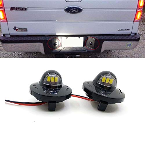 Xinctai 2PCS LED License Plate Light Lamp Assembly Replacement for Ford F150 F250 F350 F450 F550 Superduty Pickup Truck Bronco Explorer Sport Trac Ranger Expedition Excursion Lincoln Mark LT