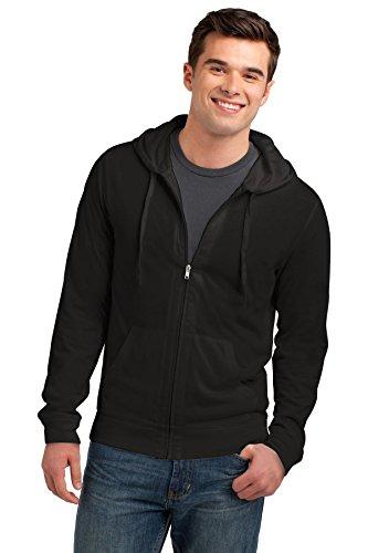 District Men's Young Lightweight Jersey Full Zip Hoodie L Black