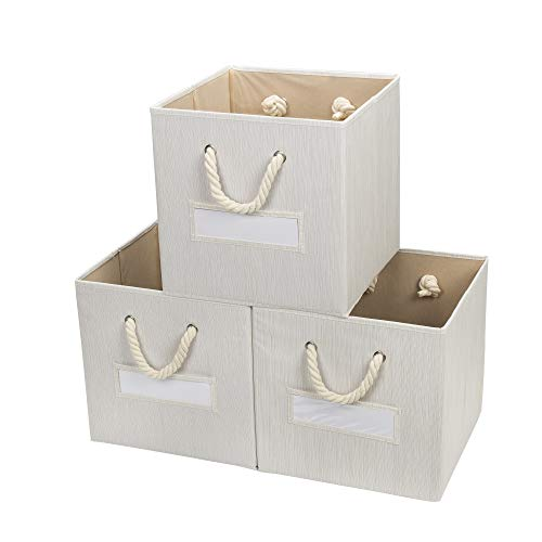 Hadioo 3 Pack Foldable Bamboo Fabric Storage Bins for Cube Organizer with Cotton Rope Handles, Collapsible Basket Box Organizer for Shelves and...