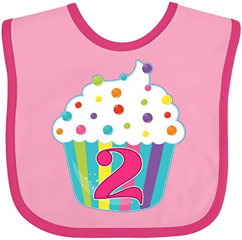 Inktastic 2nd Birthday Cupcake Baby Bib Pink and Fuchsia 285bb product image