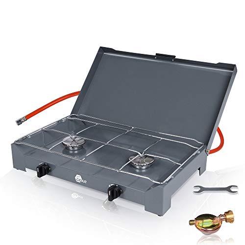 yourGEAR 2-Flamm Gaskocher Cucina 4.6 KW Brennerleistung Campingkocher mit 80cm Gas-Schlauch und 50mbar Druckminderer mit Schlauchbruchsicherung