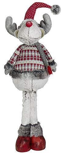 Christmas Paradise Winterlicher Deko Elch Rentier Weihnachtsdeko Größe 68cm Rot-Grau