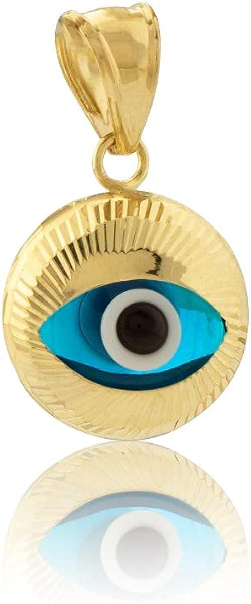 LoveBling 10K Yellow Gold Diamond Cut Blue Evil Eye Charm Pendant (0.75