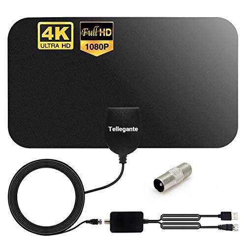 Antenne TV Intérieur TNT HD Puissante - Antenne HDTV 4K 1080P avec Amplicateur de Signal 25 dBi Jusqu'à 120 km de Portée - Récepteur Télévision Numérique/TV USB/Radio FM - 4m de Câble Coaxial