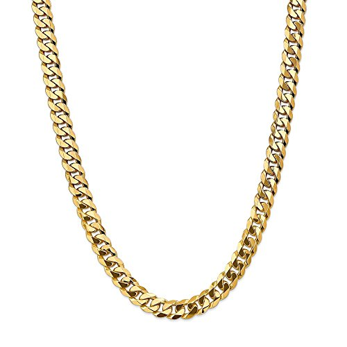 Leslie's - Collar de cadena de oro amarillo de 14 quilates, 9,5 mm, biselado plano, para hombres y mujeres