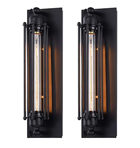 ZTKBG Apliques de Pared Industrial Conjunto de lámparas de escoce de Pared de 2 alambres. Lámparas de la luz de la Pared de Edison Edison