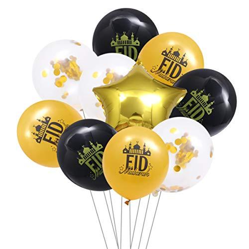 TOYANDONA 10 unidades Ramadan Mubarak Party Set de decoración Eid Mubarak confeti y globos de látex de 45 cm, estrellas de aluminio de 45 cm, globos para decoración Eid