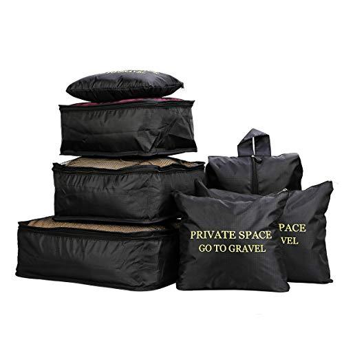 7 Stücke Wasserdichte Reise Aufbewahrungsbeutel Kleidung Verpackung Cube Gepäck Organizer Beutel (Schwarz)