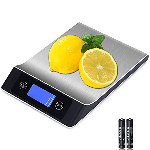 Küchenwaage Digitale, Elektronische Lebensmittel Waage mit LCD Display, Premium aus Edelstahl Wiegen Waage mit Tara-Funktion zum Kochen/Backen/Schmuck Präzision auf bis zu 1g (5kg Maximalgewicht)
