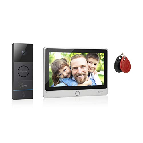 Byron RFID-Videogegensprechanlage mit einem 7 Zoll HD Touchscreen,Videoaufnahmefunktion & Nachtsicht, DIC-24112