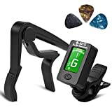 Guitar Tuner and Guitar Capo Set, Clip-On Tuner Digital Electronic Tuner Acoustic