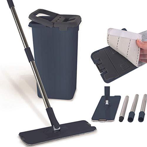 Secchio strizzatore per mocio in microfibra girevole a 360° con doppio contenitore | Mocio per ogni tipo di pulizia con ricarica | Per lavare i pavimenti con tampone | Set professionale completo