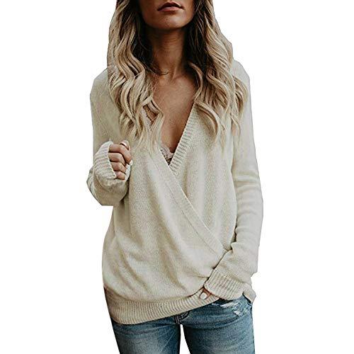 Coloré(TM ❤️Femme Sweater T-Shirt Col Bateau Sexy Shirt Pull Manche Longue Chandail Top Tricot Casual Automne- Hiver 2018 (Beige, M)