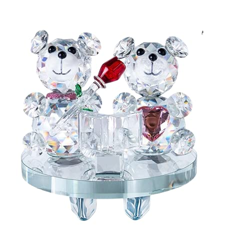 zhongzhichengcheng Regalo Figurines Cristal De Cristal En Forma De Corazón, Osos De Peluche, Elemento, Decoración del Hogar, Boda, Pareja, Aniversarios, Regalo, Presente (Base Oscilante)