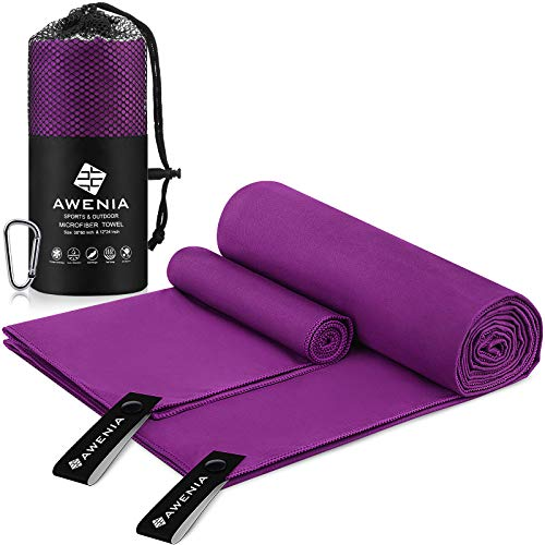 Awenia Camp Towel Quick Dry Microfiber Towel 2 Pack (30 x 60'' + 12 x 24''), Compact Travel Towel for Gym, Sports, Hiking, Backpacking, Swimming, with Carry Bag - Purple