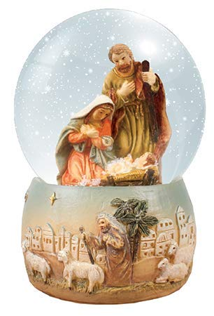 C bc Christmas Nativity scene snow globe gift waterball 4 inch Holy Family Jesus ornament