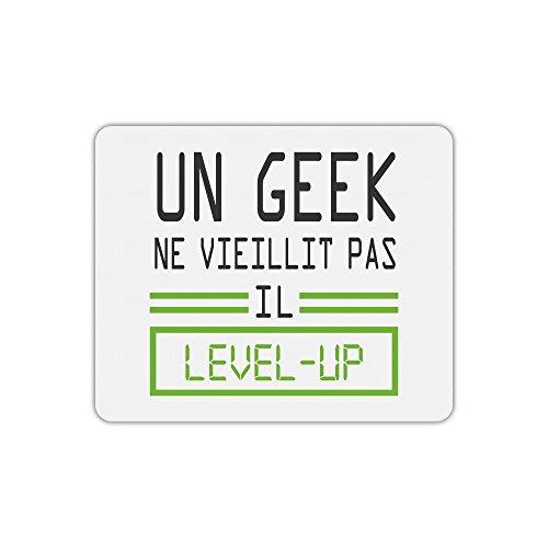 Tapis de souris rectangle imprimé geek level up