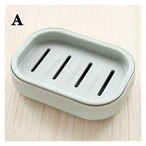 Caja de jabón Plato de jabonera de doble capa con tapa de ducha de ducha de ducha de ducha de inodoro plato de jabón de desagüe de viaje creativo contenedor portátil jabón ( Color : Gray blue A )