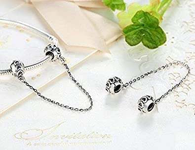 modelo amor y corazones con rosca para pulseras estilo europeo Cadena para abalorios hecha de plata de ley 925