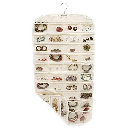 Organizador de joyas P/N para almacenamiento de 80 rejillas de joyería, bolsa colgante de pendientes, anillos, pulsera