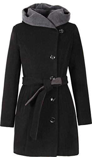 Grimada 1281-2 Damen Wollmantel Wolljacke COOTIC mit Kapuze (44, schwarz)