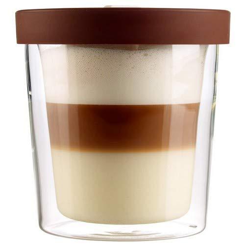 Cucina di Modena Thermobecher Isolierbecher Coffee Glas, für bis zu 250 ml (Kaffee to Go), Silikon, braun, 250ml