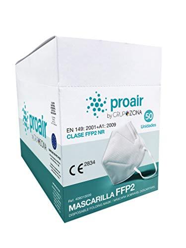 Caja 50 Mascarillas FFP2 homologadas CE 2834, color blanco, filtrado de 5 capas - ProAir - Mascarilla protección respiratoria