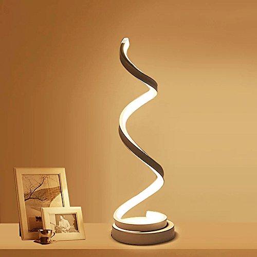 ELINKUME Lampada da comodino a spirale LED, 12W bianco caldo protezione degli occhi Luminosità dimmerabile, lampada da tavolo LED curvo Illuminazione decorativa per soggiorno camera da letto