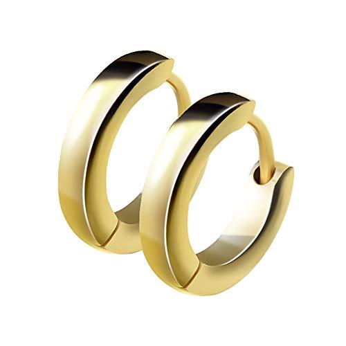 Mianova Unisex Creolen Edelstahl Damen Herren Klapp-Verschluss Schmale Ohrringe Huggie Kreolen Stecker Ohrstecker zum Klappen rund 2,5mm breit Gold