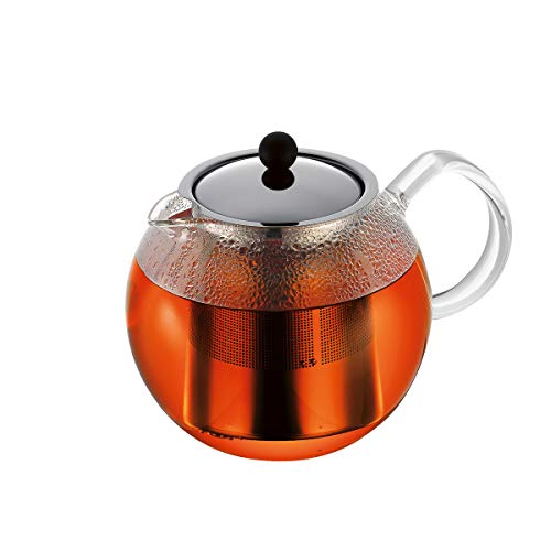 Bodum Assam Tea Press, Filtro Permanente, Manico in Vetro, 1,5 l, Lucido