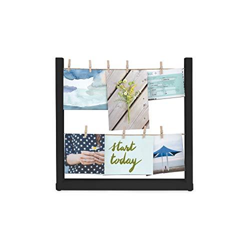 Umbra Hangit Collagen Fotorahmen, Tisch-Bilderrahmen mit 9 Wäscheklammern, ideal für Fotos, Bilder, Postkarten und Mehr, Schwarz/ Holz